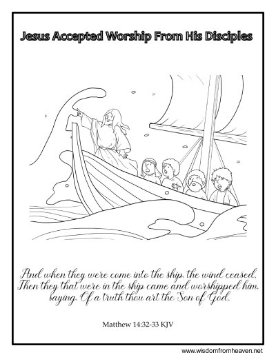 jesus accepted worship from his disciples coloring page