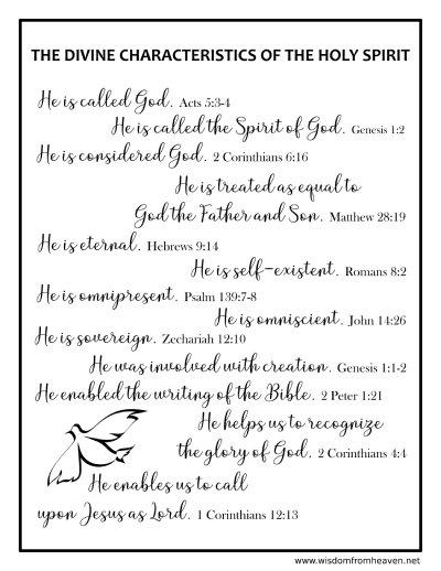 divine characteristics of the holy spirit