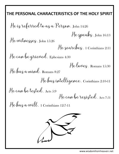 personal characteristics of the holy spirit